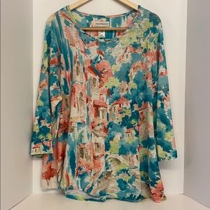 Alfred Dunner Plus Size Multi Color Top 3X